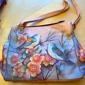 Beautiful Anuschka shoulderbag birds& nest motif.